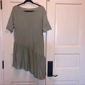 Zara   Asymmetrical Pale Green Knit Dress